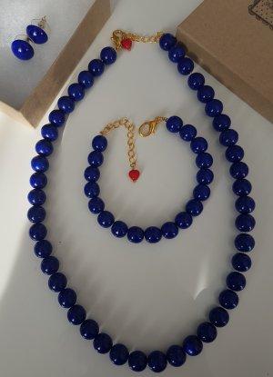 Neues Royalblaues Perlenschmuckset Fräulein Wildkirsch
