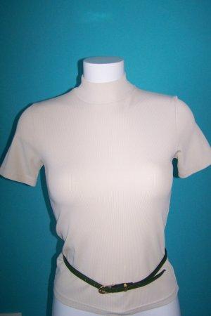 Camisa de cuello de tortuga crema poliamida