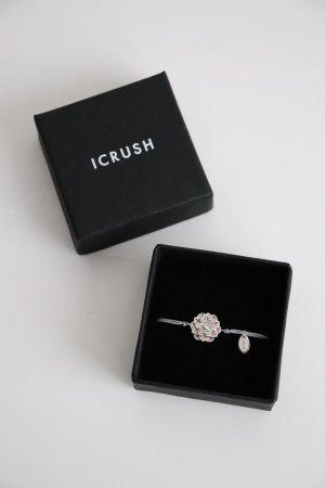 Neues schönes Armband von ICrush mit Blüte und grauen Textil Band