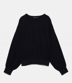 Neues Schwarzes geripptes Langarm Shirt von Zara Größe S