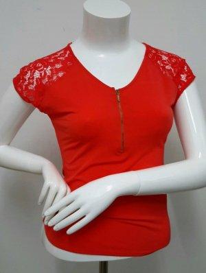 Neues Shirt Gr. XS in rot mit Spitze  von GDM Top  bluse