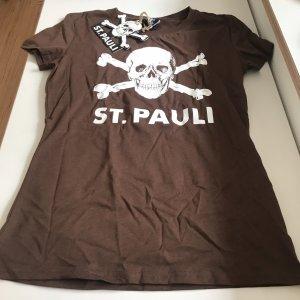 Shirt met print bruin-wit