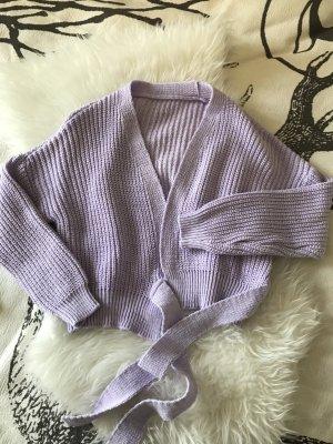 Cache-cœur en tricot violet polyamide