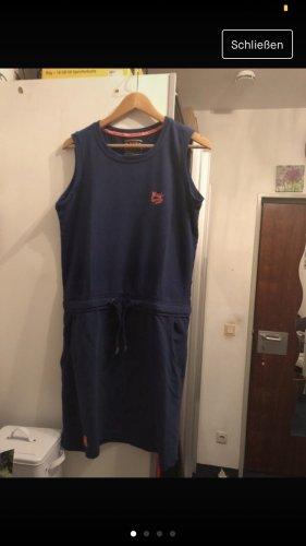 Sweat Dress dark blue-neon orange cotton