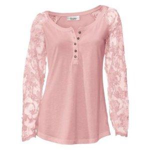 Linea Tesini Camicia lunga rosa Tessuto misto