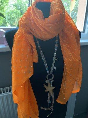 Neues Tuch Neon-Orange mit Mega Glitzer