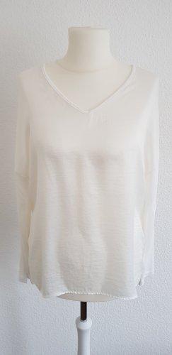 Neues, weißes langärmliges Shirt von One More Story im Materialmix Größe 42