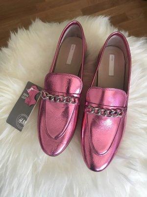 Echtleder-Loafer * Slipper * Halbschuh * pinkmetallic * extravaganter Stil * 38,5 * neu mit Etikett