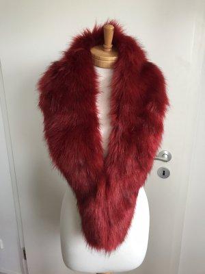 Hooded Scarf carmine-dark red fake fur