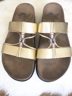 Scholl Komfort-Sandalen * goldfarben * mit Schmuckperlen