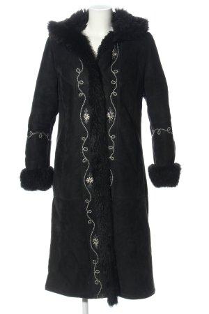 NEUSA Abrigo de cuero negro-blanco estampado floral look casual