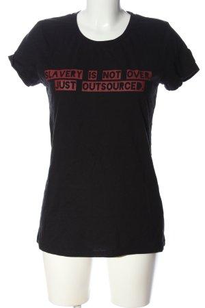 neutral T-Shirt schwarz-rot Schriftzug gedruckt Casual-Look