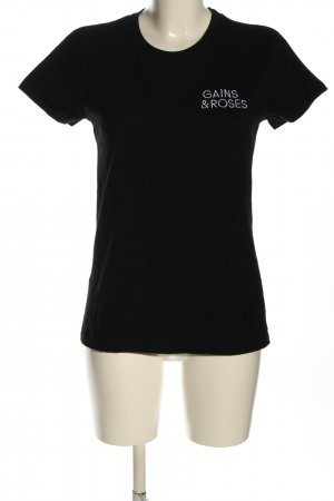 neutral T-Shirt schwarz-weiß Schriftzug gestickt Casual-Look