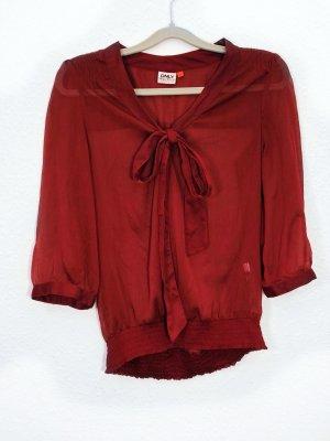 Neuwertig Bluse Shirt Langarm Pullover Only Rot Bordeaux Größe M Damen Schleife