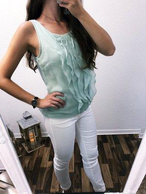 Neuwertig Bluse Shirt Oberteil Party grün türkis Größe S Rüschen Vero Moda