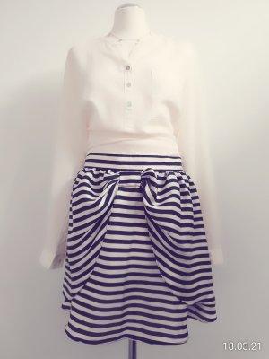 H&M Basic Tulip Skirt white-dark blue