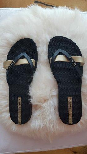 Ipanema Klapki basenowe czarny-złoto Tkanina z mieszanych włókien