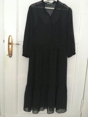 Jake*s Vestido de chifón negro-blanco Poliéster