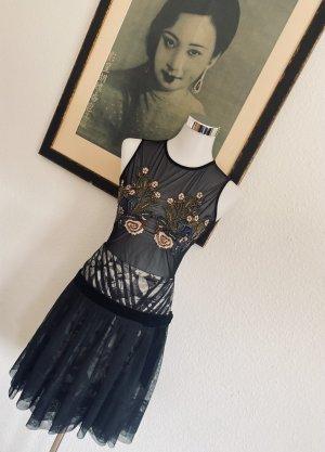 KAREN MILLEN Plisowana spódnica czarny-jasnobeżowy Jedwab