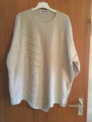 MUCK Sweter oversize jasnobeżowy Bawełna
