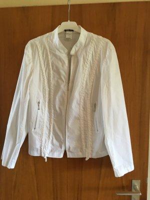 NEUWERTIG - KAUM GETRAGEN - weiße dark UV Blusenjacke m. Stehkragen u.m. Reißverschlüssen, Größe 44, 100 % Baumwolle - NEUWERTIG, KAUM GETRAGEN