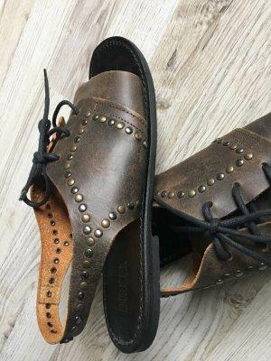 Neuwertig Leder Sandalen dunkelbraun used look
