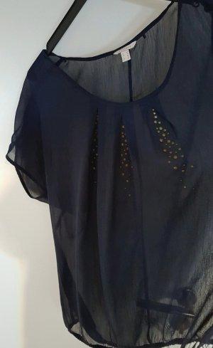 neuwertig, leichte Bluse, blau, transparent, Nieten ,Esprit,52, Gummizug