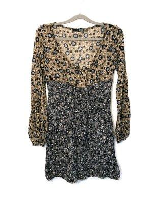 Neuwertig Liu Jo Marke Designer Kleid Mini Freizeitkleid Blumen beige Damen Größe M Neu 239,90€