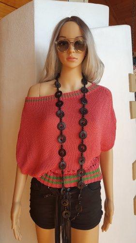Save the Queen Szydełkowany sweter trawiasty-brzoskwiniowy