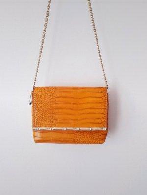 Neuwertig Orangene Kunstleder Handtasche Zara Chainriemen