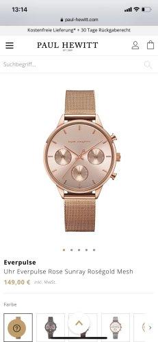 Paul Hewitt Reloj con pulsera metálica color rosa dorado