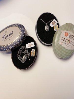 NEUwertig + SET Armband Kette FOSSIL Schlüssel Schloss mit esprit
