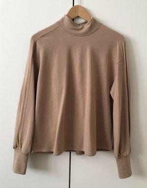 Neuwertig : Sweater Gr. S Zara beige Stehkragen Bündchen überschnittene Schultern