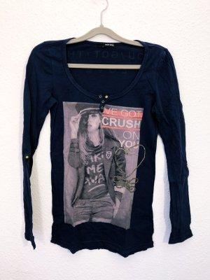 Neuwertig Tally Weijl Pullover Langarmshirt Shirt Größe S dunkelblau Print Damen