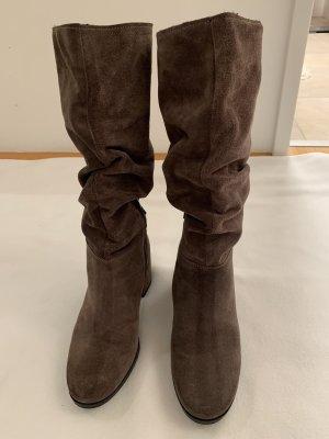 Bottes plissées gris brun cuir