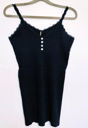 Neuwertig Top Shirt dunkel blau Spitze Knöpfe Madonna Größe L Stretch Damen