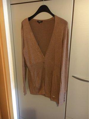 More & More Gilet long tricoté marron clair
