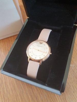 Neuwertige Armani Armbanduhr mit Lederband, Rosa und Roségold