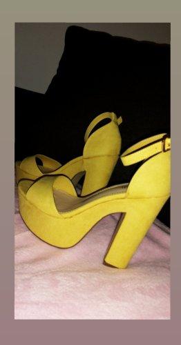 JustFab Sandalias con plataforma amarillo-amarillo pálido