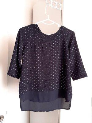 Neuwertige Bluse mit 3/4 Ärmel und Reißverschluss in dunkelblau, Gr. 34/36