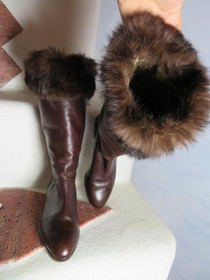 neuwertige Boho Braun LAMMFELL gefütterte Stiefel Ilga Warme Echtfellstiefel Schlupf Gr. 38 Lederstiefel mit Fellbesatz Leder -- Vintage