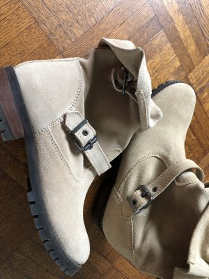 H&M Booties pale yellow leather