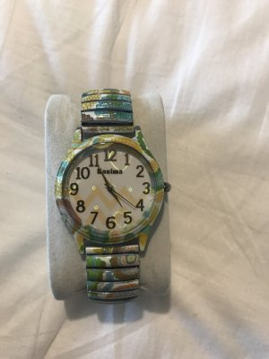 Kanima Watch With Metal Strap lime-green-bright red metal
