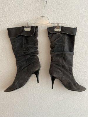 Wysokie buty na obcasie antracyt