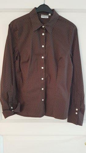 Neuwertige Heine Business Bluse Hemd 40 nougatbraun Polka Dots Baumwolle Stretch