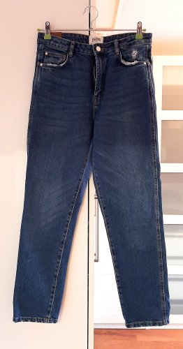 Neuwertige High-Waist Jeans von Zara, blau, Gr. 38