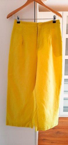 Neuwertige High-Waist Leinenhose von Zara, Zitronengelb, Gr. M