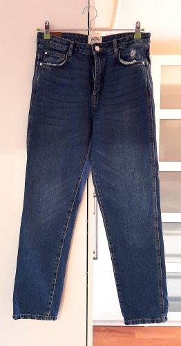 Neuwertige High-Waist Mom Jeans von Zara, blau, Gr. 38