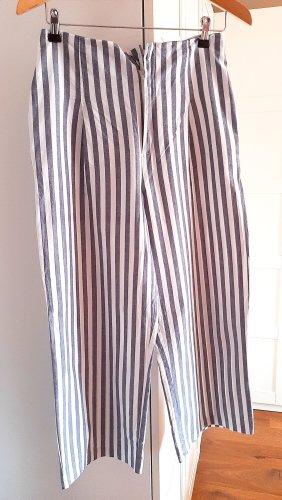 Neuwertige High-Waist Stoffhose von Zara, weiß/blau, Gr. M