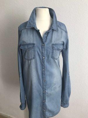 Only Fashion Blouse en jean bleu acier-bleu azur